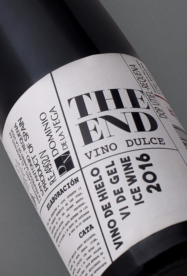 Etiqueta botella 0,5cl Vino blando dulce de hielo The End 2016