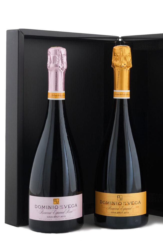 Detalle Estuche 2 botellas 75cl. de Cava brut reserva Especial y Rosé