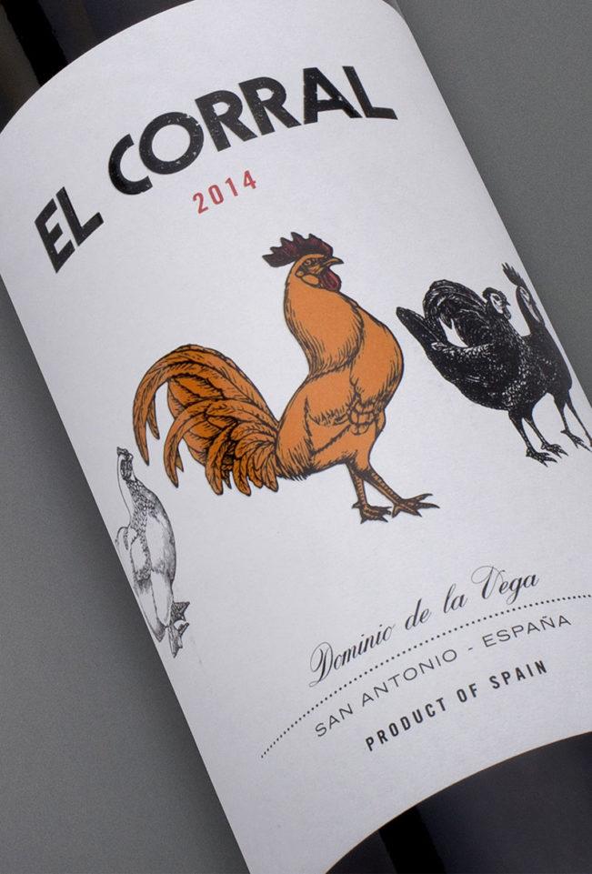 Etiqueta botella 75cl. Vino tinto El Corral 2014