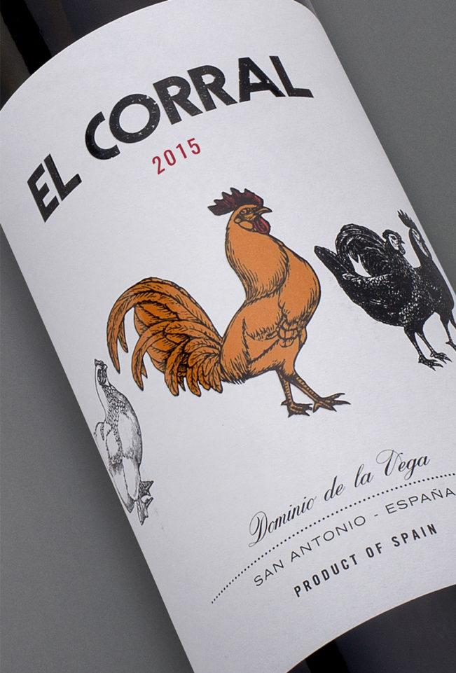 Etiqueta botella 75cl. Vino tinto El Corral 2015
