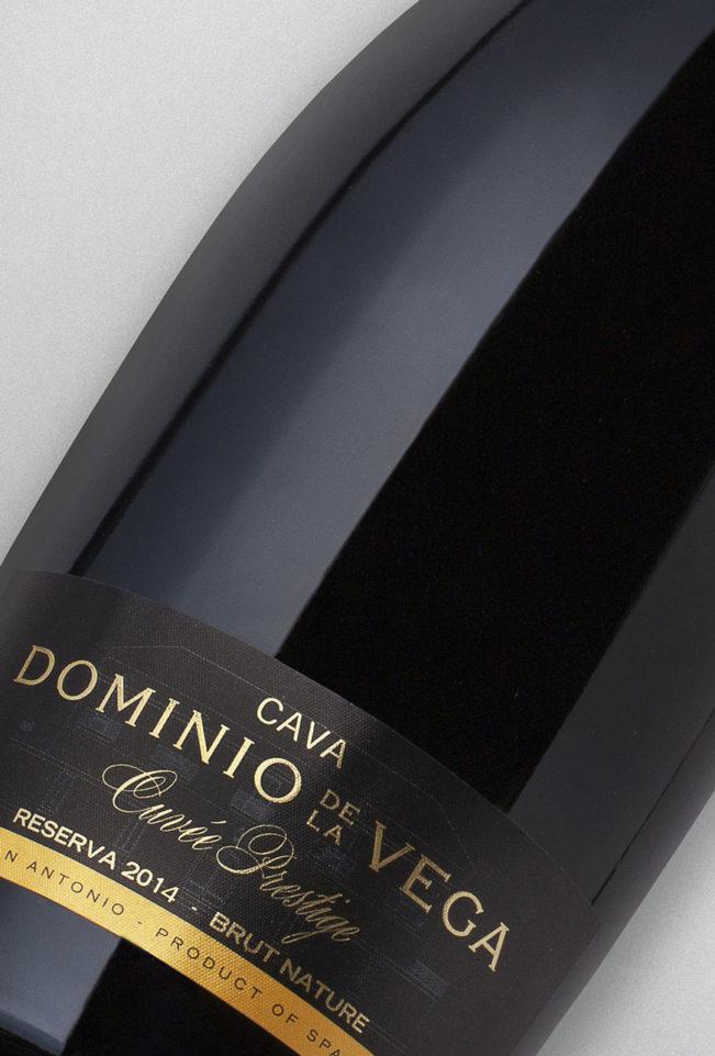Etiqueta botella 75cl. Cava brut nature reserva Cuvée Prestige 2014