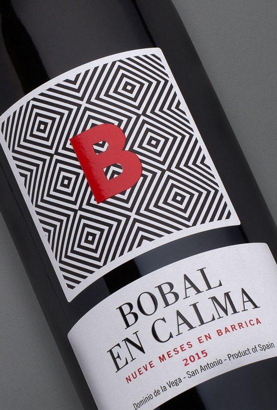 Etiqueta botella 75cl. Vino tinto Bobal en Calma 2015