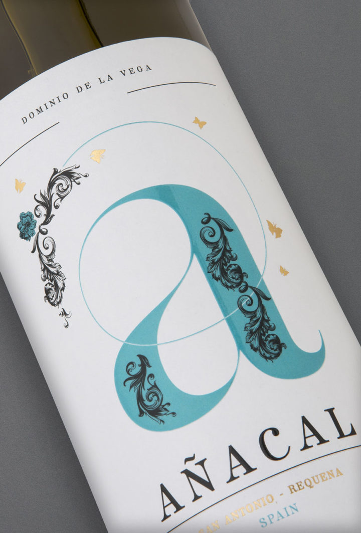 Etiqueta botella 75cl. Vino blanco jóven Añacal 2017