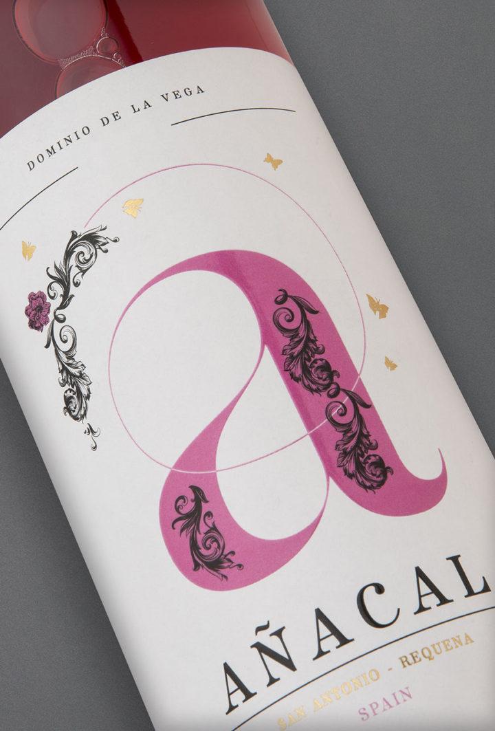 Etiqueta botella 75cl. Vino rosado jóven Añacal 2017