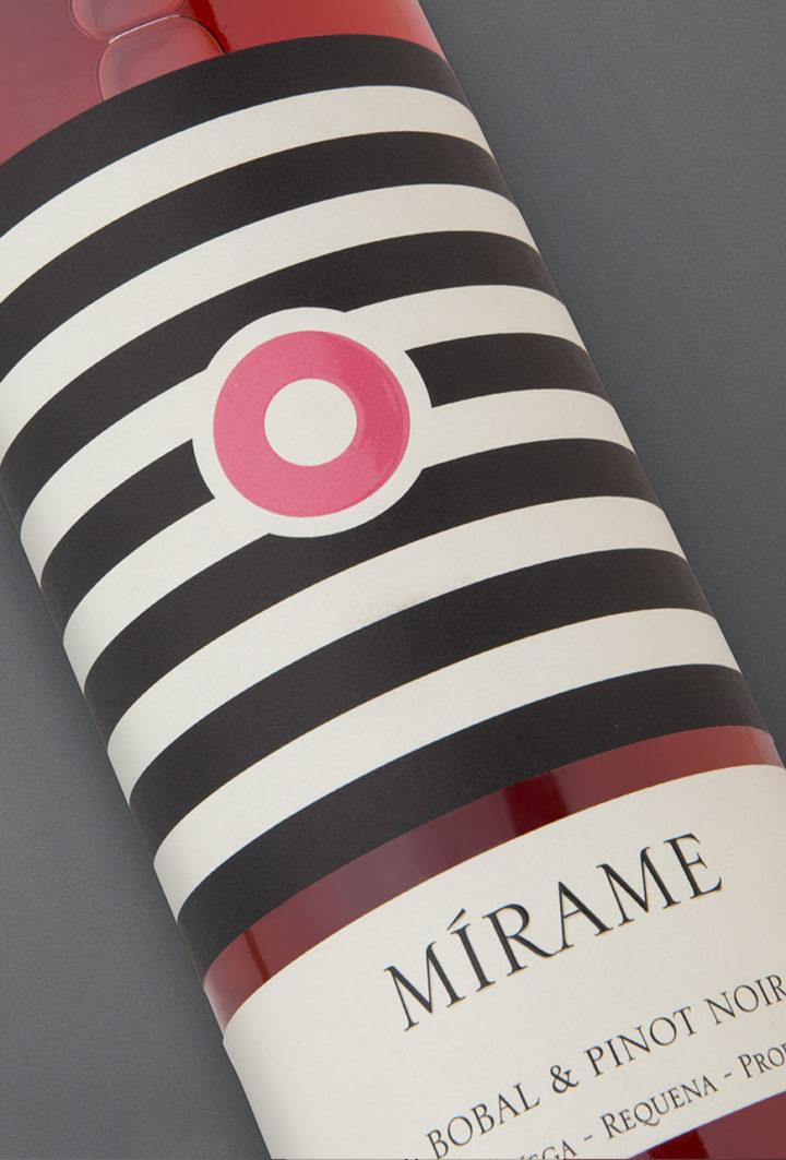 Etiqueta botella 75cl. Vino rosado Mírame 2016