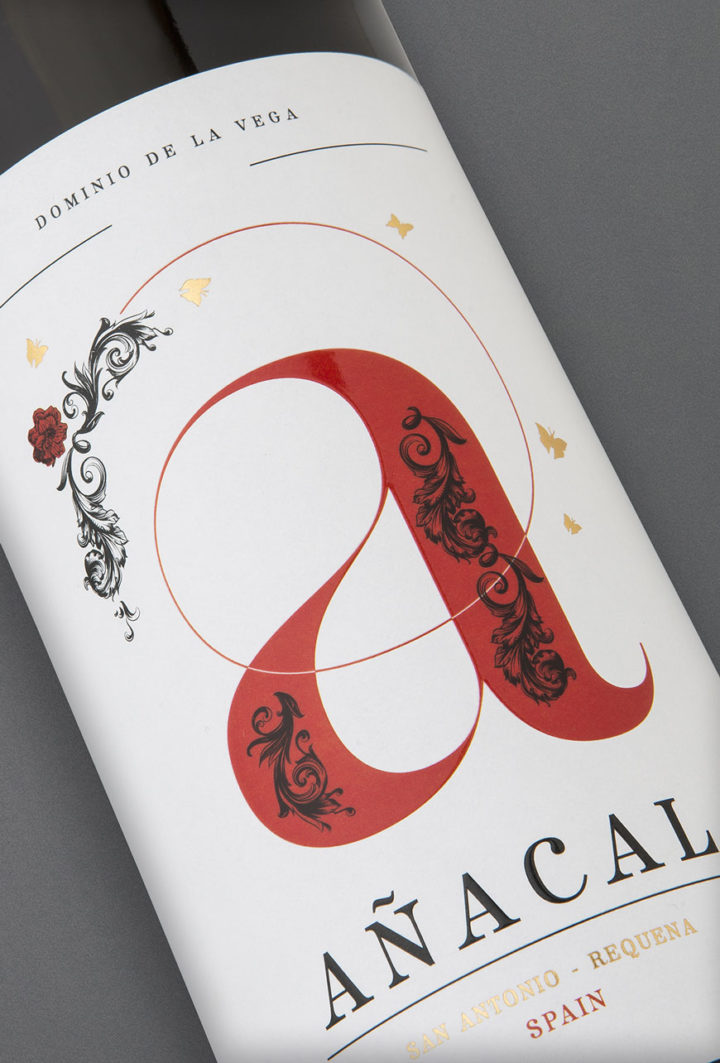 Etiqueta botella 75cl. Vino tinto jóven Añacal 2017