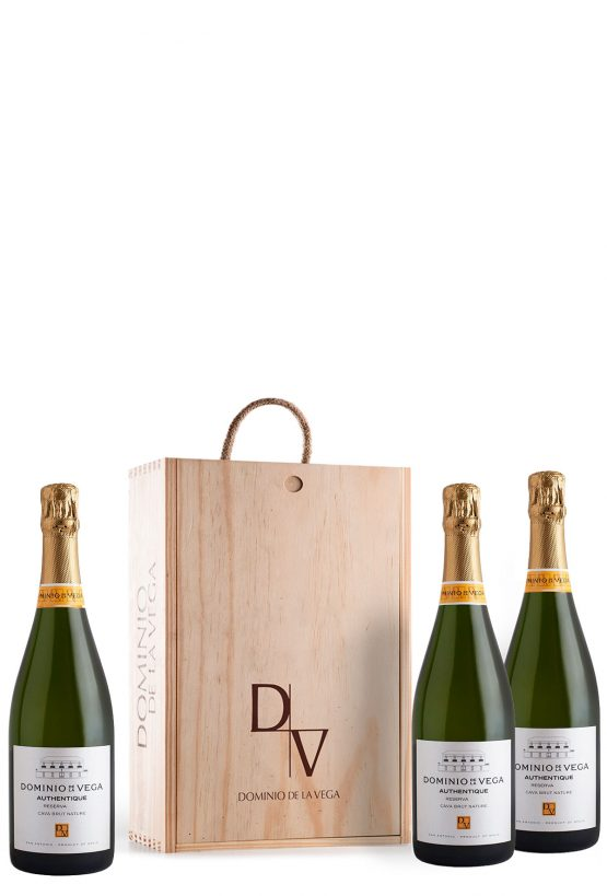 Caja de madera 3 botellas Cava Brut Nature Reserva Authentique