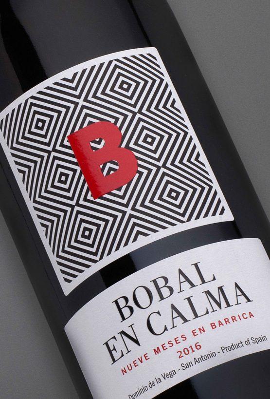 Etiqueta botella 75cl. Vino tinto Bobal en Calma 2016